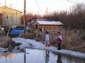 Kids during spring flood