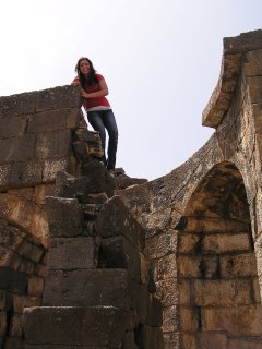 Christine on top of ruined church