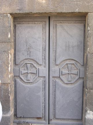 Old doors of the church at Izra