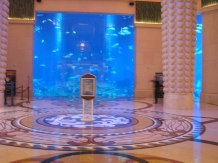 The lobby of the Atlantis hotel (featuring a very large salt water aquarium with sharks in it)
