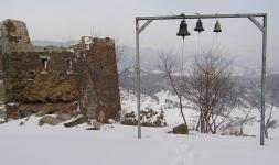 The bells, and perhaps ruined bell tower of Mtskhera Jvari