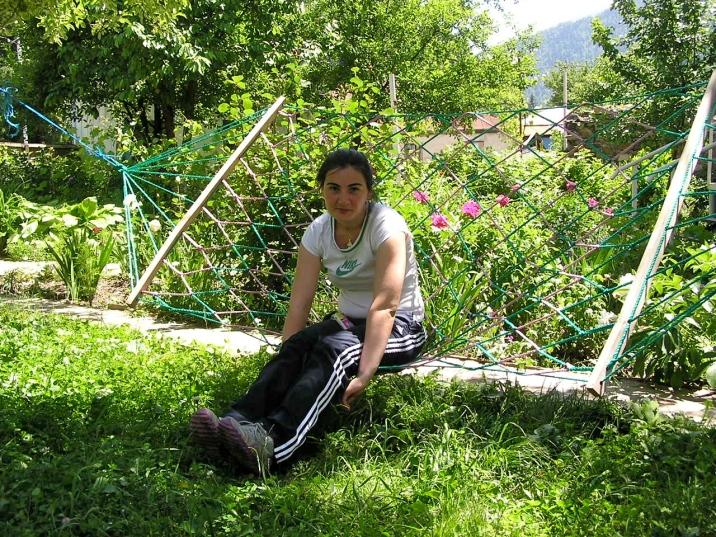 Guchi in her mother's garden