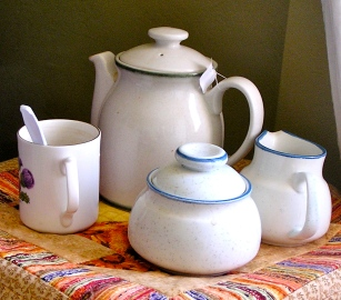 My usual upside-down basket tea table set-up