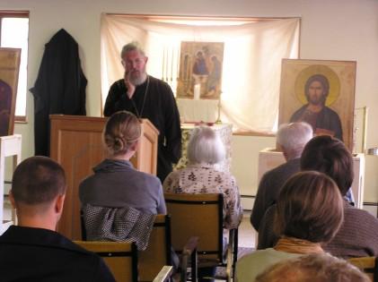 Fr Stephen giving a talk