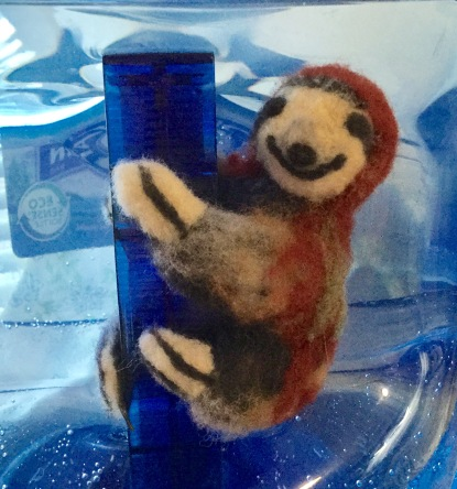 Sloth with wires on water bottle